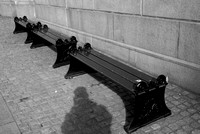 Bench below parliament of Oslo - and my shadow