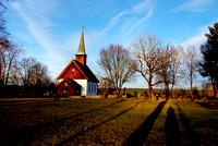 My shadow at Nesodden Church, Norway