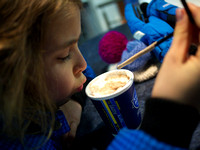 28.11.2010: Johanne with hot chocolate milk on the Nesodden ferry.