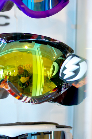 My reflection in some slalom googles at a hip hop shop in Larvik, Norway
